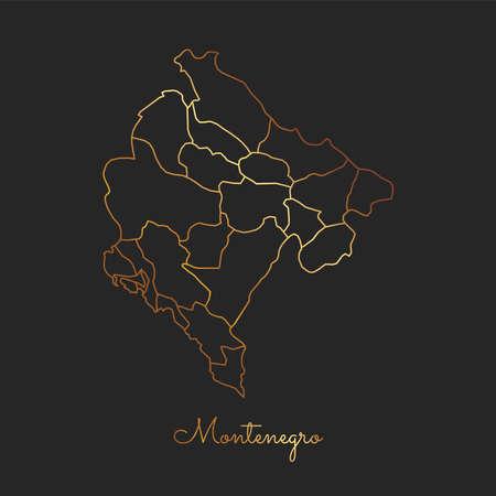 Montenegro region map: golden gradient outline on dark background. Detailed map of Montenegro regions. Vector illustration. Ilustração