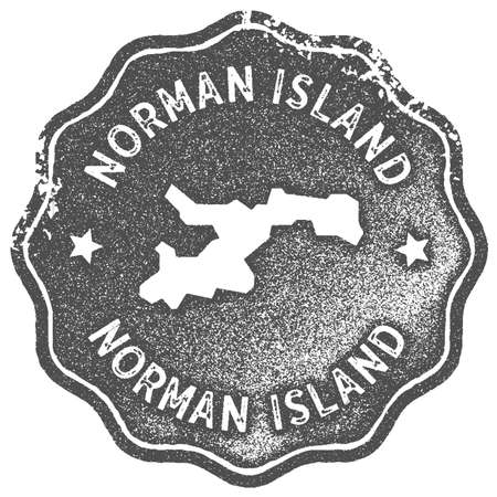 Norman Island map vintage stamp. Retro style handmade label, badge or element for travel souvenirs. Grey rubber stamp with island map silhouette. Vector illustration.