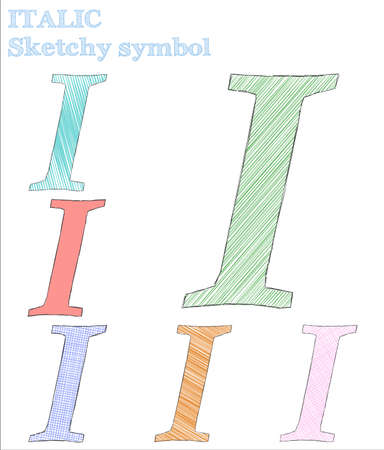 Italic sketchy symbol. Posh hand drawn symbol. Shapely childish style italic vector illustration.