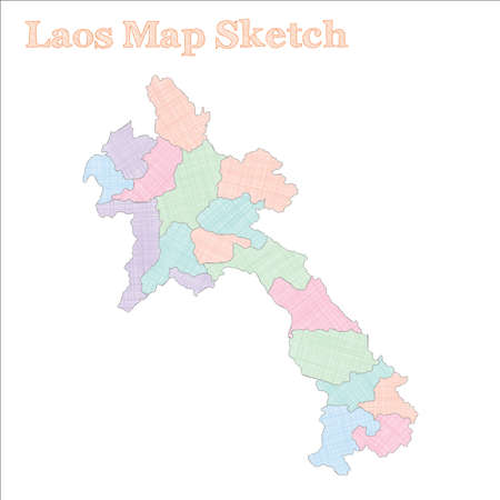 Laos map. Hand-drawn country. Pleasant sketchy Laos map with regions. Vector illustration.