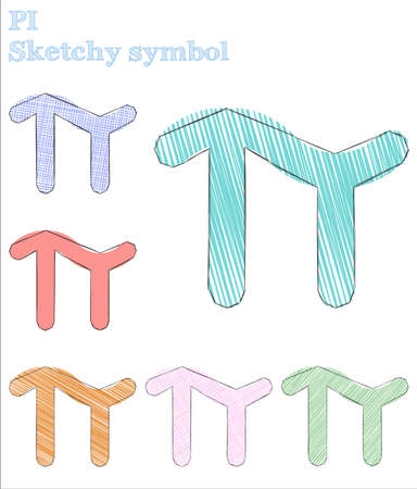 Pi sketchy symbol. Captivating hand drawn symbol. Elegant childish style pi vector illustration.