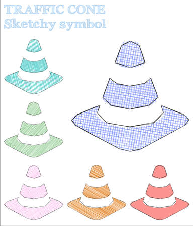 Traffic cone sketchy symbol. Bewitching hand drawn symbol. Ecstatic childish style traffic cone vector illustration.