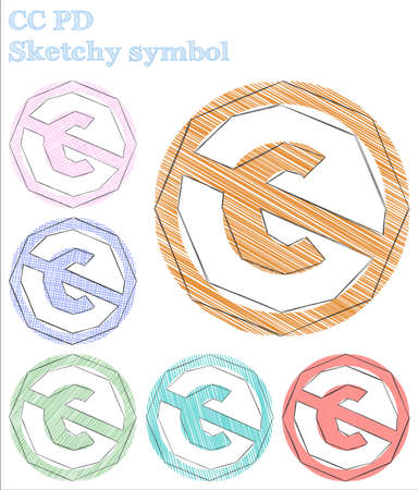 Cc pd sketchy symbol. Alluring hand drawn symbol. Attractive childish style cc pd vector illustration.
