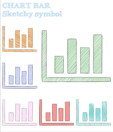 Chart bar sketchy symbol. Ecstatic hand drawn symbol. Excellent childish style chart bar vector illustration.