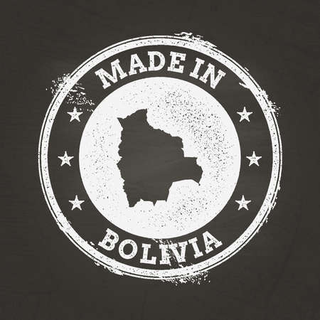 White chalk texture made in stamp with Plurinational State of Bolivia map on a school blackboard. Grunge rubber seal with country map outline, vector illustration.