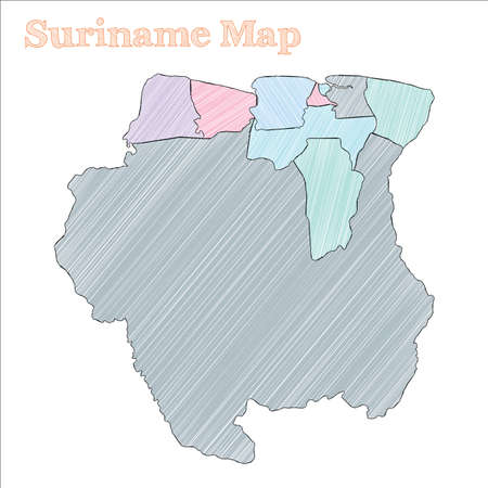 Suriname hand-drawn map. Colourful sketchy country outline. Classy Suriname map with provinces. Vector illustration.