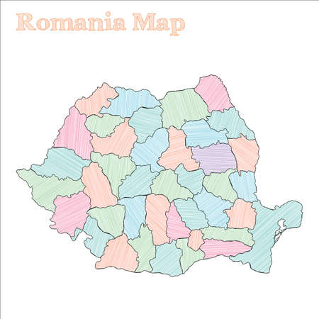 Romania hand-drawn map. Colourful sketchy country outline. Astonishing Romania map with provinces. Vector illustration.