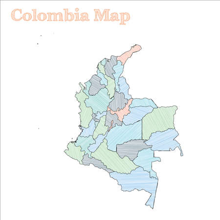 Colombia hand-drawn map. Colourful sketchy country outline. Ecstatic Colombia map with provinces. Vector illustration.