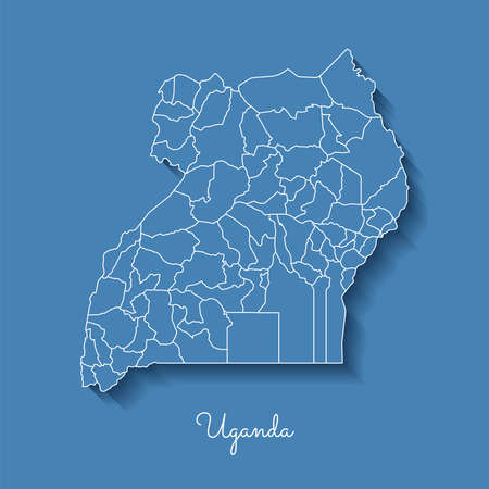 Uganda region map: blue with white outline and shadow on blue background. Detailed map of Uganda regions. Vector illustration.