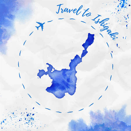Ishigaki watercolor island map in blue colors. Travel to Ishigaki poster with airplane trace and handpainted watercolor map on crumpled paper. Vector illustration.  イラスト・ベクター素材
