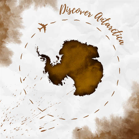 Antarctica watercolor map in sepia colors. Discover Antarctica poster with airplane trace and handpainted watercolor Antarctica map on crumpled paper. Vector illustration.