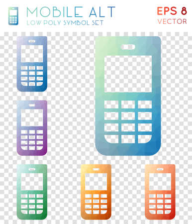 Mobile alt geometric polygonal icons. Awesome mosaic style symbol collection. Unique low poly style. Modern design. Mobile alt icons set for infographics or presentation.