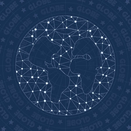 Globe alt network symbol. Alluring constellation style symbol. Authentic network style. Modern design. Globe alt icon for infographics or presentation.