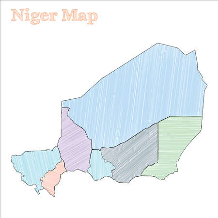 Niger hand-drawn map. Colourful sketchy country outline. Terrific Niger map with provinces. Vector illustration.
