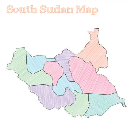 South Sudan hand-drawn map. Colourful sketchy country outline. Classic South Sudan map with provinces. Vector illustration. Vetores