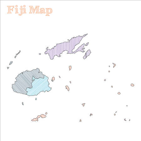 Fiji hand-drawn map. Colourful sketchy country outline. Fetching Fiji map with provinces. Vector illustration.
