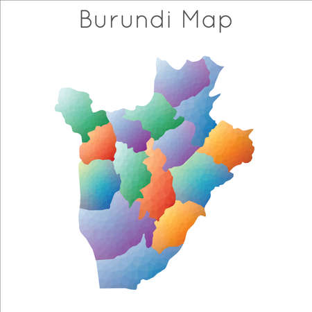 Low Poly map of Burundi. Burundi geometric polygonal, mosaic style map. Illustration