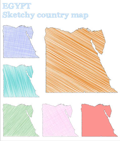 Egypt sketchy country. Extra hand drawn country. Extraordinary childish style Egypt vector illustration.