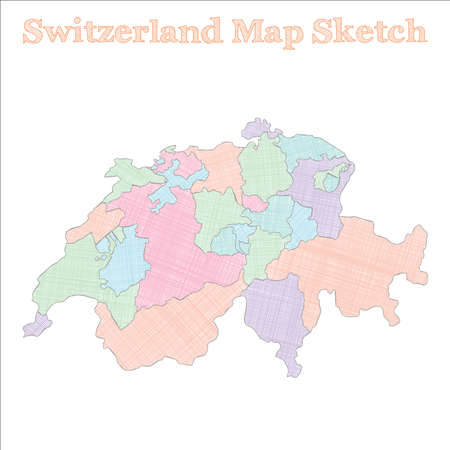 Switzerland map. Hand-drawn country. Cute sketchy Switzerland map with regions. Vector illustration.