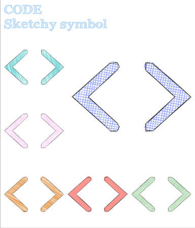 Code sketchy symbol. Tempting hand drawn symbol. Unusual childish style code vector illustration. Illustration
