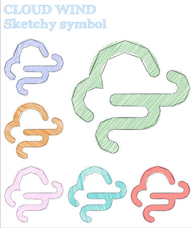 Cloud wind sketchy symbol. Splendid hand drawn symbol. Symmetrical childish style cloud wind vector illustration.