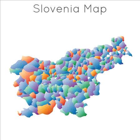 Low Poly map of Slovenia. Slovenia geometric polygonal, mosaic style map.