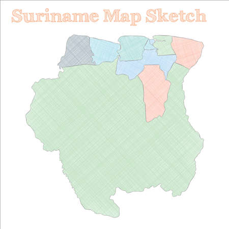 Suriname map. Hand-drawn country. Classy sketchy Suriname map with regions. Vector illustration.