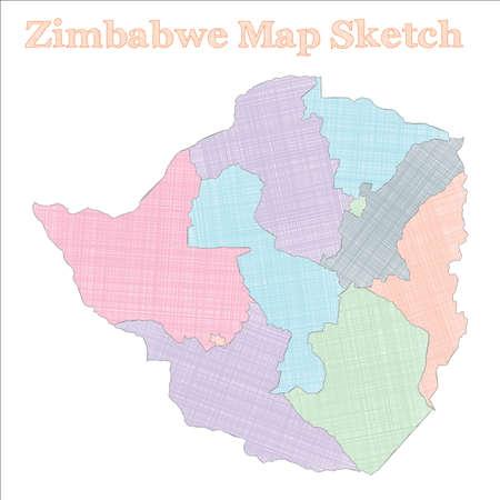 Zimbabwe map. Hand-drawn country. Fascinating sketchy Zimbabwe map with regions. Vector illustration. Ilustração