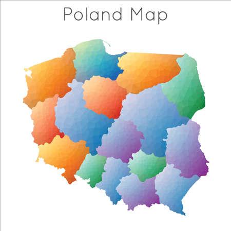 Low Poly map of Poland. Poland geometric polygonal, mosaic style map. Vektoros illusztráció