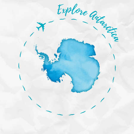 Antarctica watercolor map in turquoise colors. Explore Antarctica poster with airplane trace and handpainted watercolor Antarctica map on crumpled paper. Vector illustration.