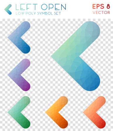 Left open geometric polygonal icons. Authentic mosaic style symbol collection. Exquisite low poly style. Modern design. Left open icons set for infographics or presentation.