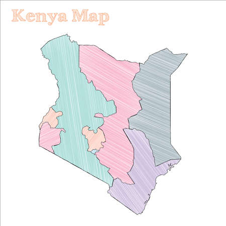 Kenya hand-drawn map. Colourful sketchy country outline. Noteworthy Kenya map with provinces. Vector illustration.