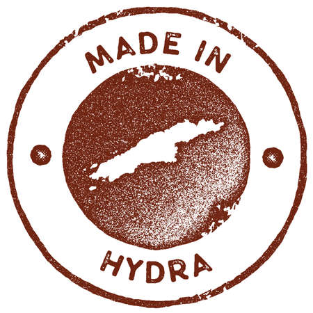 Hydra map vintage stamp. Retro style handmade label, badge or element for travel souvenirs. Red rubber stamp with island map silhouette. Vector illustration. Ilustracja