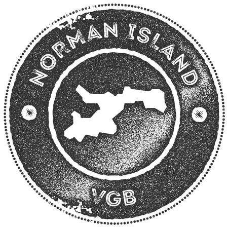 Norman Island map vintage stamp. Retro style handmade label, badge or element for travel souvenirs. Dark grey rubber stamp with island map silhouette. Vector illustration.