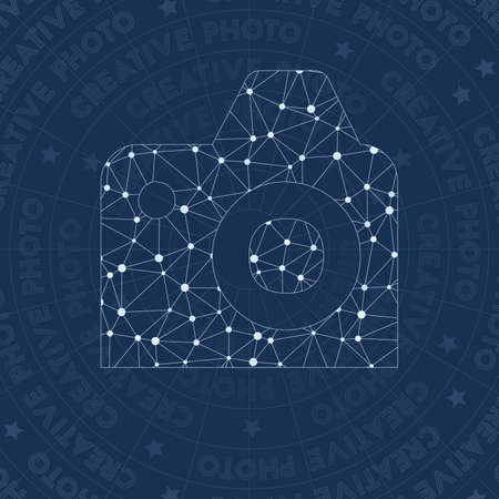 Creative network symbol. Admirable constellation style symbol. Excellent network style. Modern design. Creative icon for infographics or presentation.