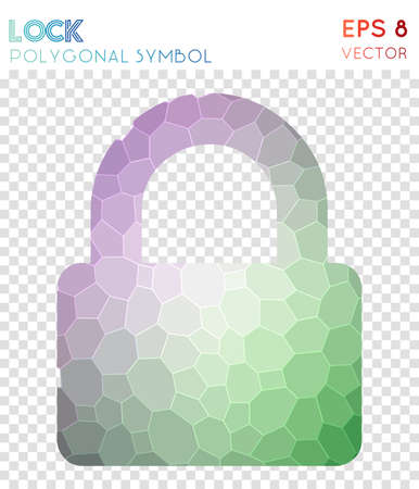 Lock polygonal symbol. Astonishing mosaic style symbol. Emotional low poly style. Modern design. Lock icon for infographics or presentation.