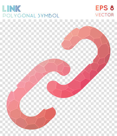 Link polygonal symbol. Artistic mosaic style symbol. Popular low poly style. Modern design. Link icon for infographics or presentation.