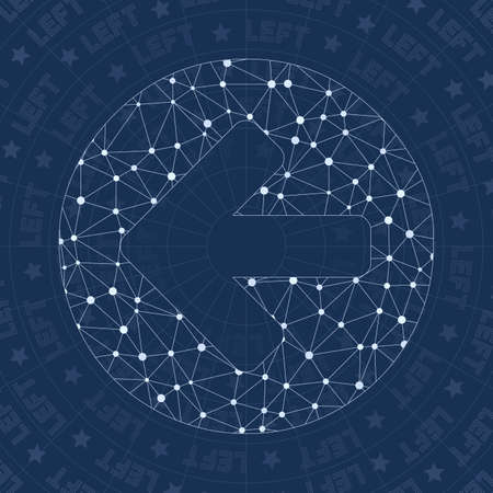 Left circled network symbol. Alluring constellation style symbol. Shapely network style. Modern design. Left circled icon for infographics or presentation.