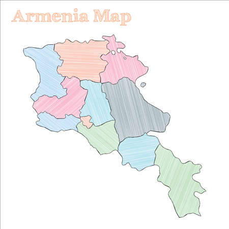 Armenia hand-drawn map. Colourful sketchy country outline. Amazing Armenia map with provinces. Vector illustration.