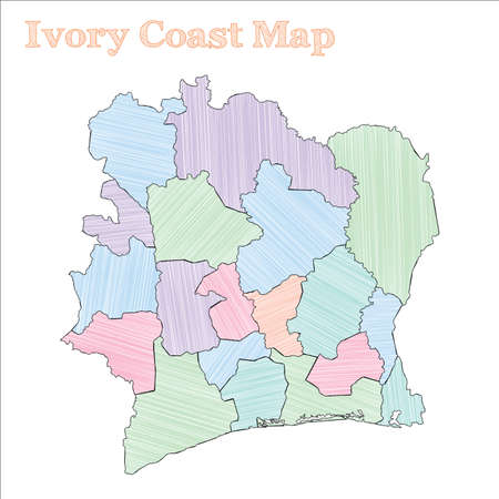 Ivory Coast hand-drawn map. Colourful sketchy country outline. Delicate Ivory Coast map with provinces. Vector illustration. Ilustração