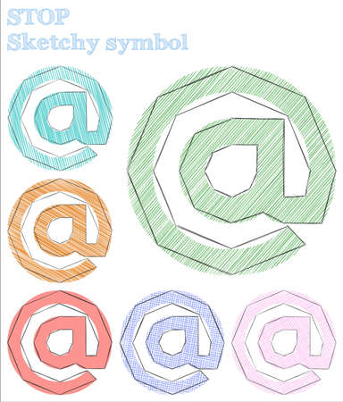 Stop sketchy symbol. Exceptional hand drawn symbol. Extraordinary childish style stop vector illustration.