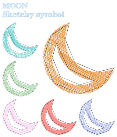 Moon sketchy symbol. Ecstatic hand drawn symbol. Fantastic childish style moon vector illustration.  イラスト・ベクター素材