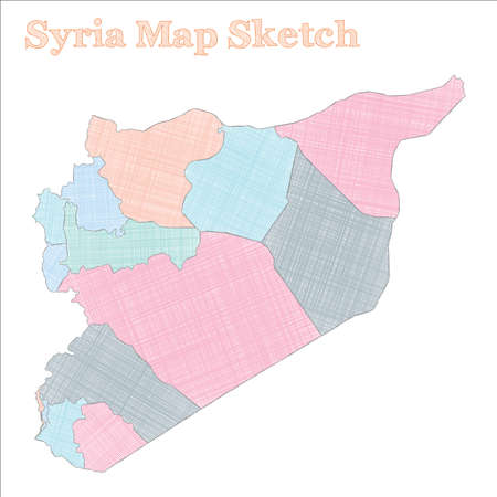 Syria map. Hand-drawn country. Cute sketchy Syria map with regions. Vector illustration.