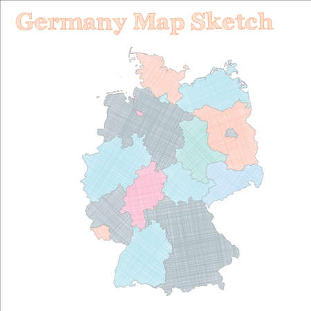 Germany map. Hand-drawn country. Excellent sketchy Germany map with regions. Vector illustration. Illustration
