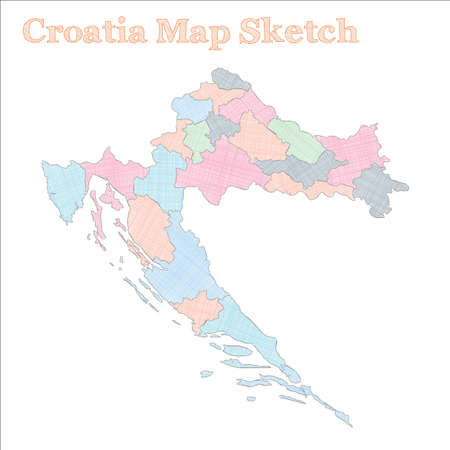 Croatia map. Hand-drawn country. Interesting sketchy Croatia map with regions. Vector illustration.