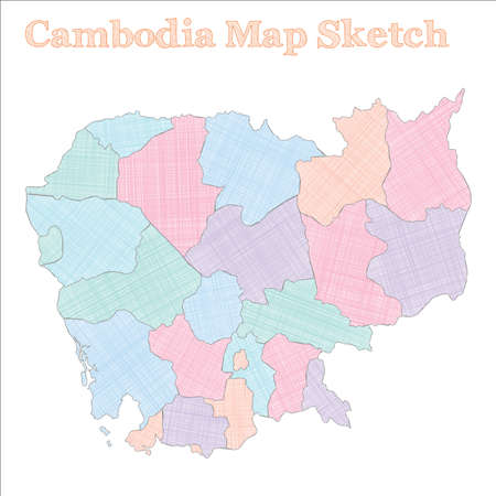 Cambodia map. Hand-drawn country. Original sketchy Cambodia map with regions. Vector illustration. Illustration
