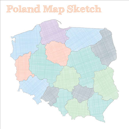 Poland map. Hand-drawn country. Adorable sketchy Poland map with regions. Vector illustration.