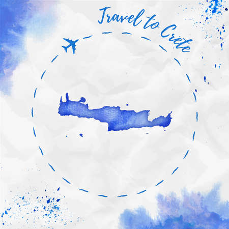 Crete watercolor island map in blue colors. Travel to Crete poster with airplane trace and handpainted watercolor map on crumpled paper. Vector illustration.