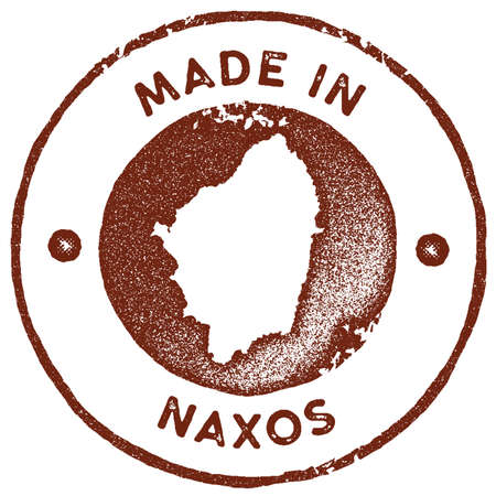 Naxos map vintage stamp. Retro style handmade label, badge or element for travel souvenirs. Red rubber stamp with island map silhouette. Vector illustration. Illustration