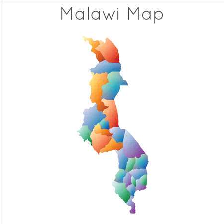 Low Poly map of Malawi. Malawi geometric polygonal, mosaic style map.